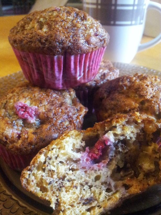 muffins bananes framboises