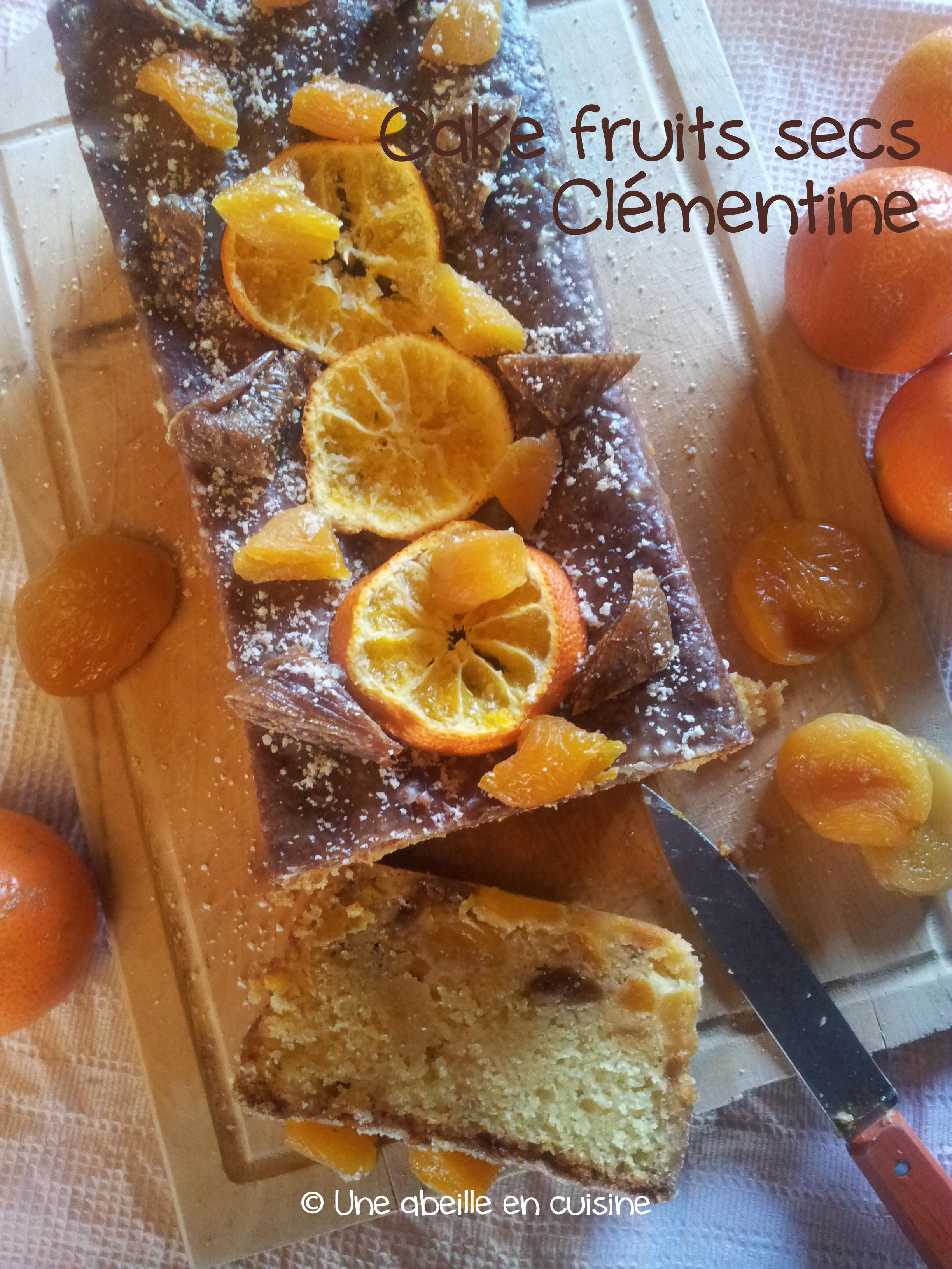 Cake fruits secs (figues+abricots) et clémentine, glaçage à la clémentine — Une abeille en cuisine