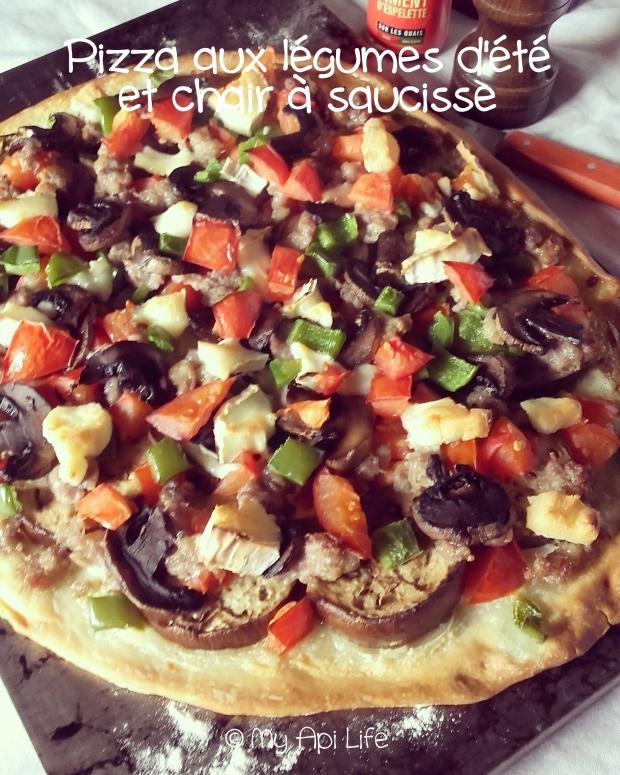 pizza aux légumes d'été et chair à saucisse