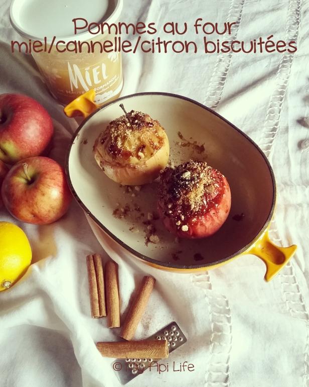 pommes au four miel citron cannelle biscuitées