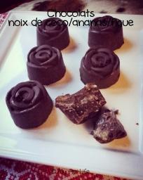 chocolats noix de coco ananas figue