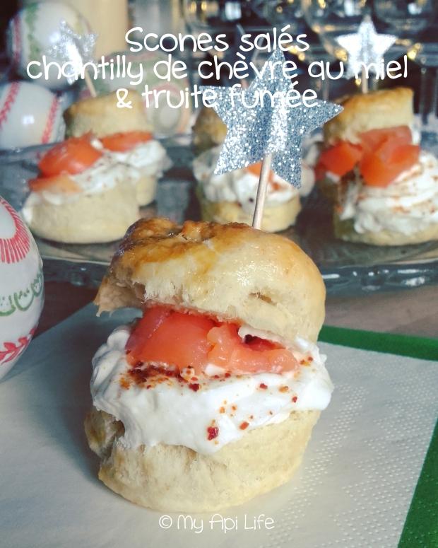 Mini scones salés, chantilly de chèvre au miel & truite fumée copie