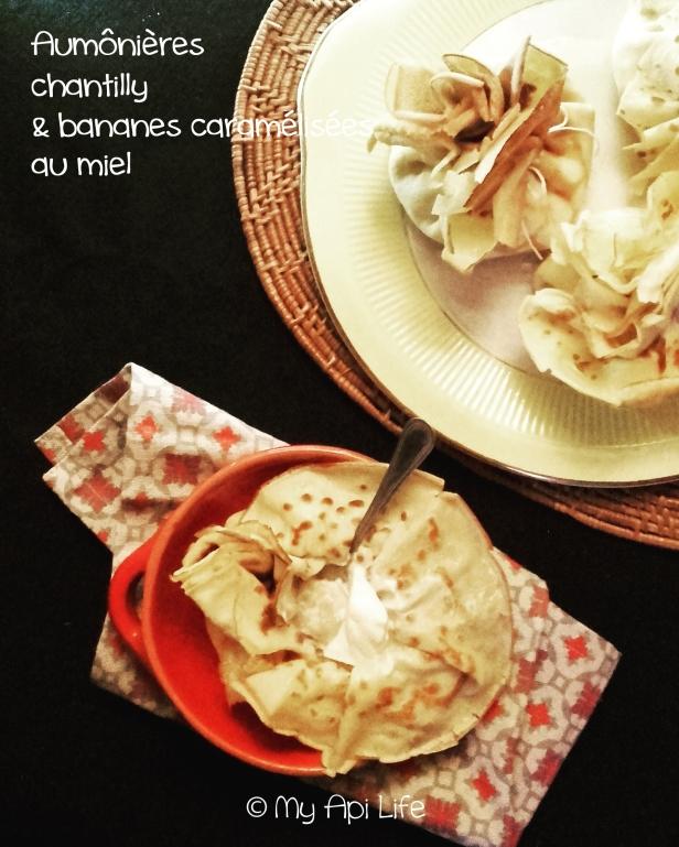 aumônières chantilly bananes caramélisées au miel