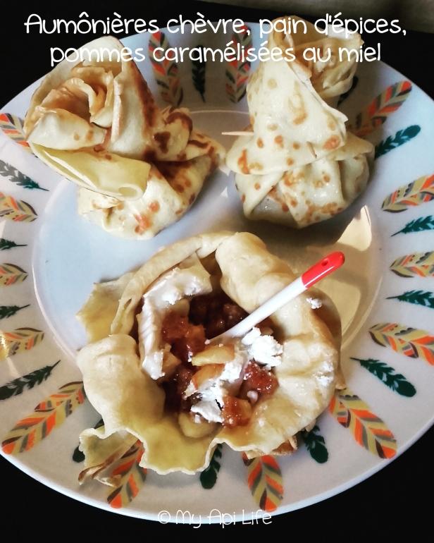 aumônières chèvre, pommes caramélisées au miel et pain d'épices
