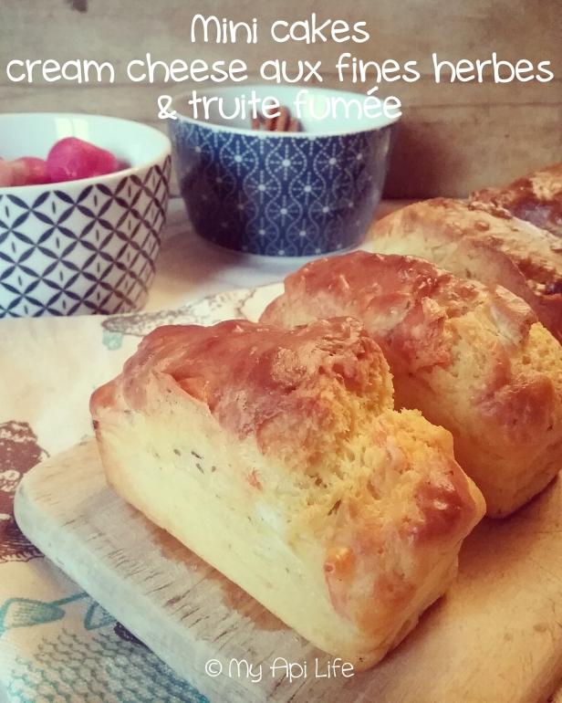 cake au cream cheese fines herbes & pointe d'ail et à la truite fumée
