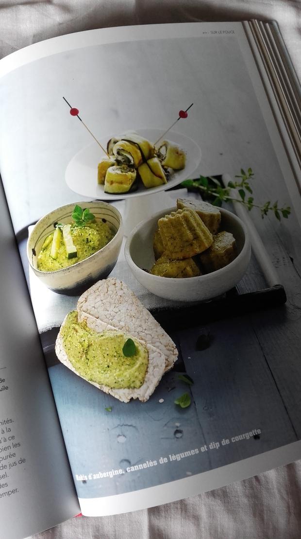 blinis d'aubergine, cannelés de légumes et dip de courgette