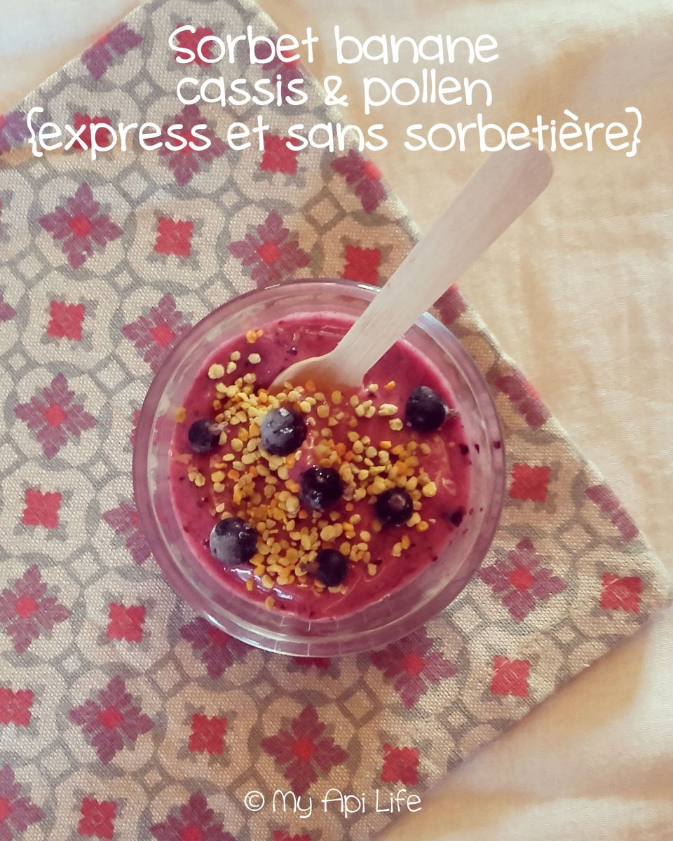 sorbet banane cassis et pollen frais de cerisier, express et sans sorbetière