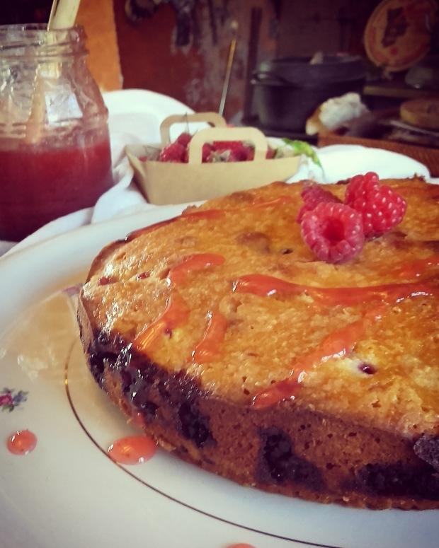 Gâteau au yaourt coco framboise