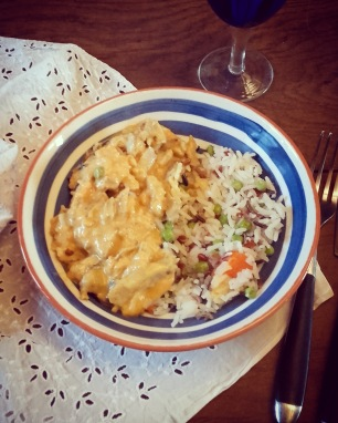Filet de poulet mariné au curry rouge - lait de coco et son trio de riz