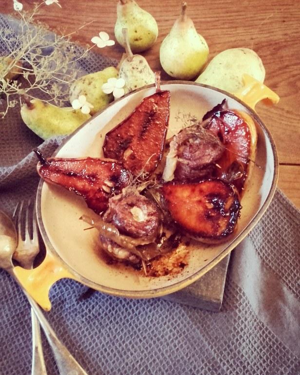 poitrine de porc confite et poires rôties au miel