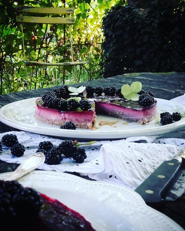 blackberry panna cotta pie (tarte crue à la panna cotta et à la mûre)